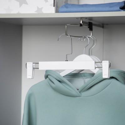 Вешалка для брюк и юбок с зажимами, 30×17 см, цвет белый