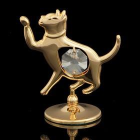Сувенир «Кошка», 3х5,5х6 см, с кристаллами Сваровски Ош
