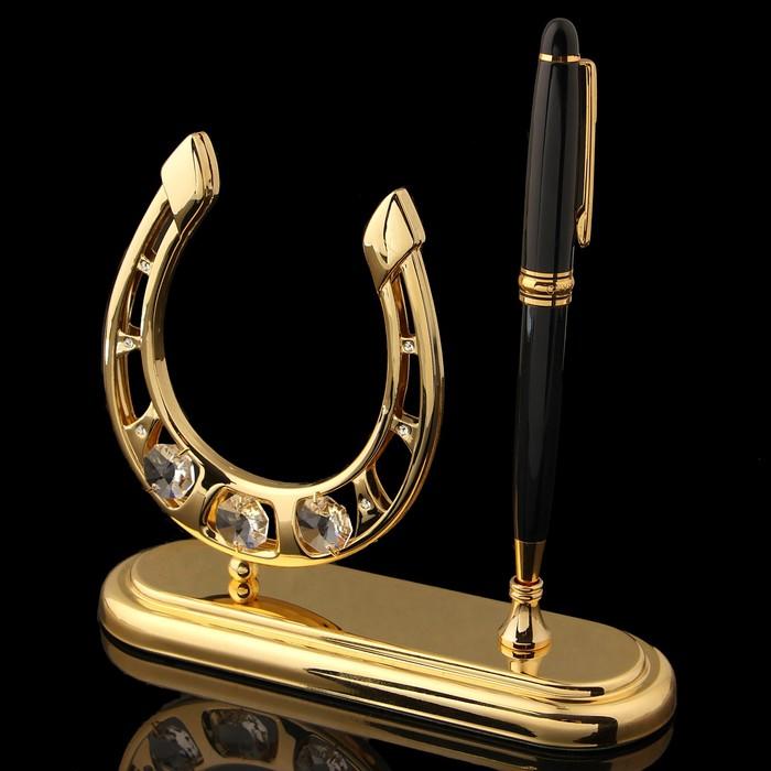 Ручка на подставке «Подкова», с кристаллами Сваровски