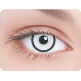 Карнавальные контактные линзы Adria Crazy - Белая радужка и черный лимб, в наборе 1шт Ош