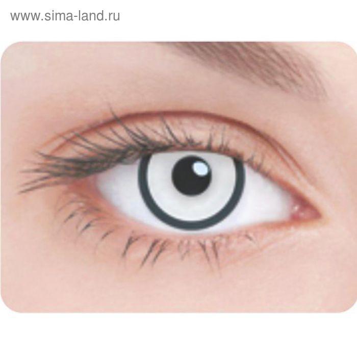 Карнавальные контактные линзы Adria Crazy - Белая радужка и черный лимб, в наборе 1шт