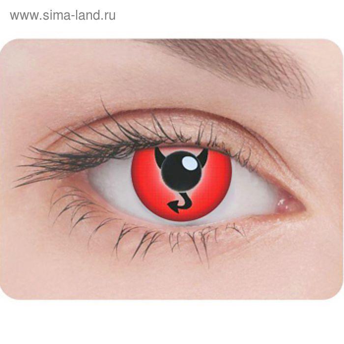 Карнавальные контактные линзы Adria Crazy - Дьявол, в наборе 1шт