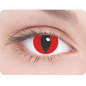 Карнавальные контактные линзы Adria Crazy - Красный кошачий глаз, в наборе 1шт