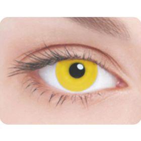 Карнавальные контактные линзы Adria Crazy - Ярко-желтая радужка, в наборе 1шт Ош