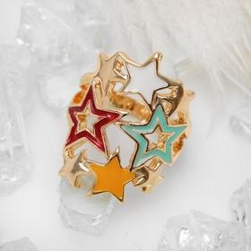 Кольцо 'Звездное небо', цветное в золоте, размер 17 Ош