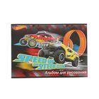 Альбом для рисования А4, 20 листов на скрепке Hot Wheels, ВД-лак, блок 100 г/м2