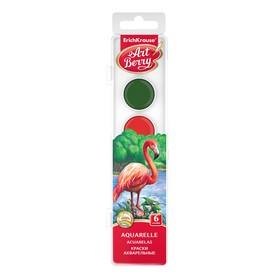 Акварель 6 цветов, ErichKrause, в пластиковой коробке, УФ-защита яркости, без кисти, европодвес