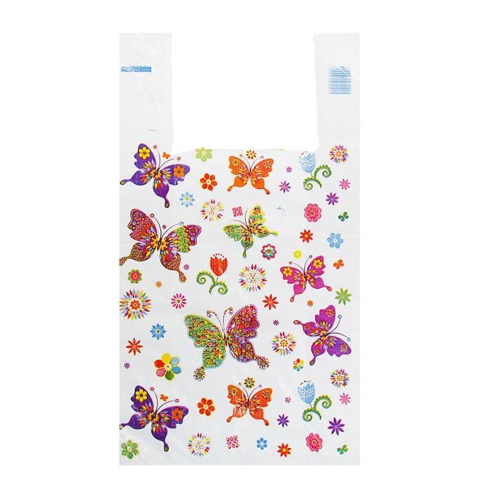"""Пакет """"Бабочки"""", полиэтиленовый, майка, 28 х 50 см, 12 мкм"""