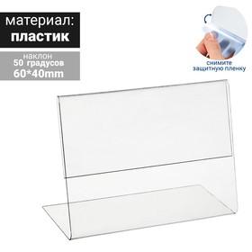 Ценникодержатель горизонтальный, 6*4 см, пластик 0,5мм, цвет прозрачный Ош