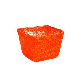 Кашпо, сизаль, квадрат, ярко-оранжевая 10 х 14 х 14 см Ош