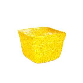 Кашпо, сизаль, квадрат, жёлтая 10 х 14 х 14 см Ош