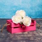 """Ящик-кашпо подарочный """"Двушка Лайт"""", двухреечный, ручка-верёвка, розовый"""