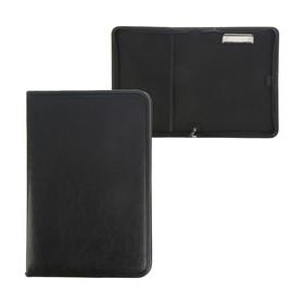 Пaпка деловая, искусственная кожа, 360 х 260 х 30 мм, «Лайт», с металлическим прижимом, чёрная Ош