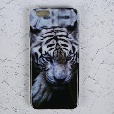 """Силиконовый чехол LuazON для iPhone 6/6s """"Белый тигр"""" - Фото 1"""