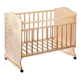 Детская кроватка «Морозко. Бабочки» с ростомером, на колёсах или качалке, цвет бежевый/берёза