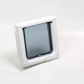 Дверца для кошек «БАРСИК», проём 145*145 мм, толщина двери 36-42 мм, белый Ош
