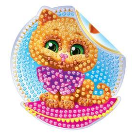 Алмазная вышивка наклейка для детей «Котик», 10 х 10 см. Набор для творчества Ош