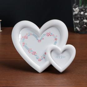 Рамка д/фото пластик 2 сердца белая 10*12, 6*8 см Ош