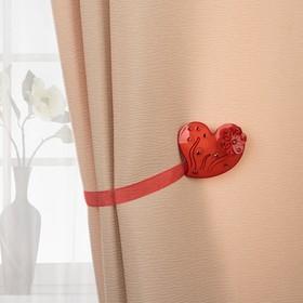 Подхват для штор «Сердце цветочное», 5,5 × 6 см, цвет красный Ош