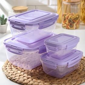 Набор контейнеров пищевых, воздухонепроницаемых 4 шт: 0,4 л, 0,8 л, 1,4 л, 2,3 л