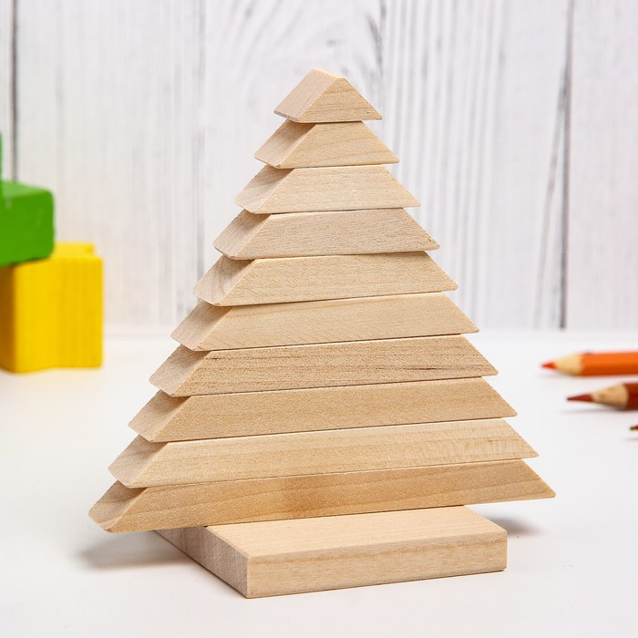 Детская пирамидка Ёлочка, деревянная, материал берёза