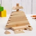 Детская пирамидка «Ёлочка», деревянная, материал: берёза - Фото 2