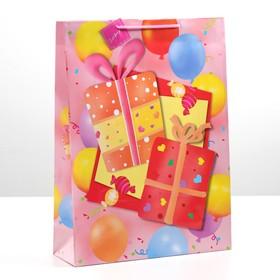 Пакет подарочный 'Подарки', 32 х 11 х 44 см Ош