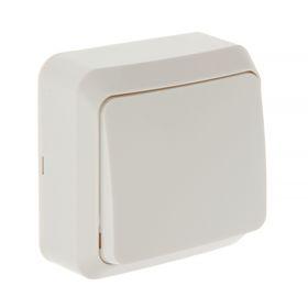 Выключатель Smartbuy 'Юпитер', 10 А, 1 клавиша, наружный,  белый Ош