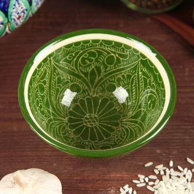 Пиала большая Риштанская Керамика, 11.5см, зелёная - Фото 1