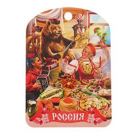 Доска разделочная сувенирная 'Россия' медведь', 19,5×27,5 см Ош