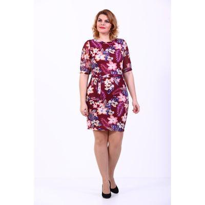 Платье-футляр, размер 44, бордовый принт - Фото 1