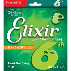 Отдельная 6-я струна для бас-гитары Elixir 15332 NANOWEB, Medium C, .032