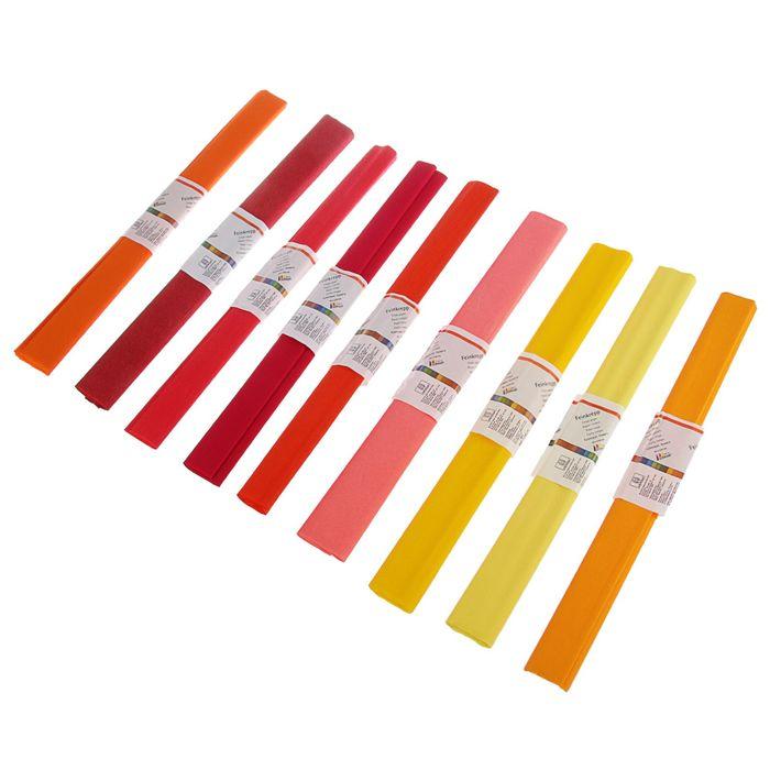 Набор бумаги крепированной 50x250см, 32 г/м², 20 штук, 10 цветов, спектр красно-оранжевый, растяжение 55%