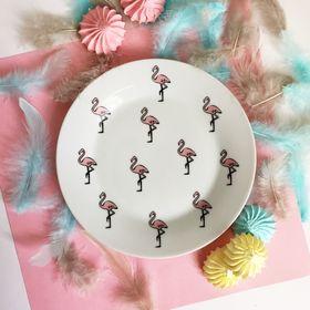 "Тарелка 20 см ""Розовый фламинго"", с бортами"