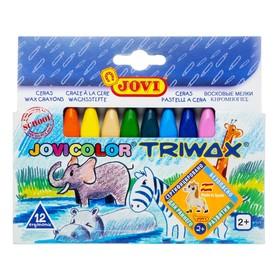 Мелки восковые 12 цветов JOVI, треугольные 973/12, для малышей