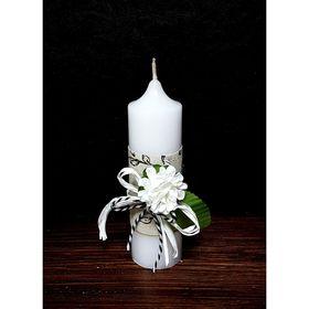 """Свеча """"Ручная работа"""" с декором """"Белые цветы"""" 40*135"""