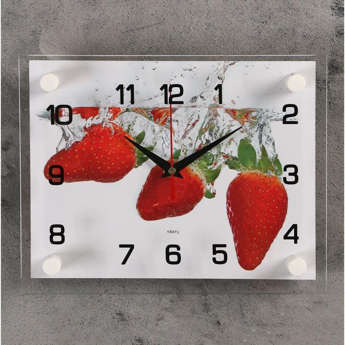 Часы настенные, серия Кухня, Клубника, 20х26 см микс