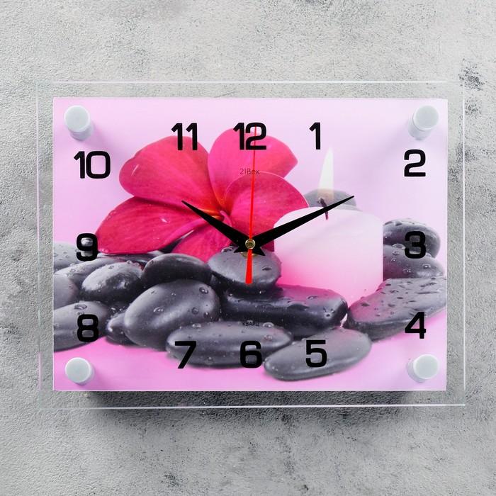 Часы настенные, серия Цветы, Цветок на камешках, 20х26 см, микс