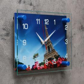 Часы настенные, серия: Город, 'Эйфелева башня', 20х26  см, микс Ош
