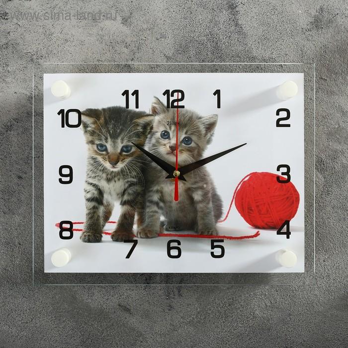 """Часы настенные, серия: Животный мир, """"Котята с клубком"""", 20х26  см, микс"""
