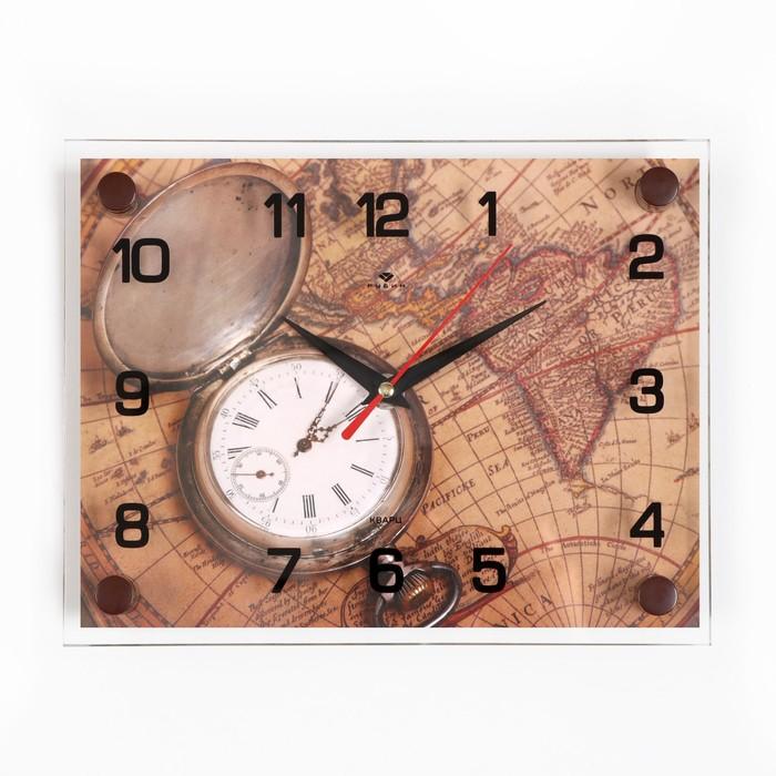 Часы настенные, серия Интерьер, Карта, 20х26 см