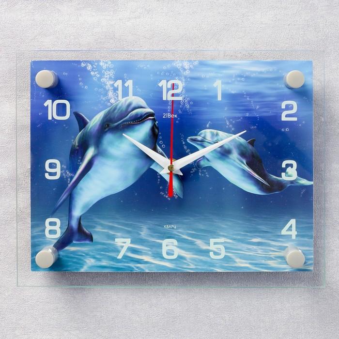 Часы настенные, серия Море, Дельфины, 20х26 см, микс