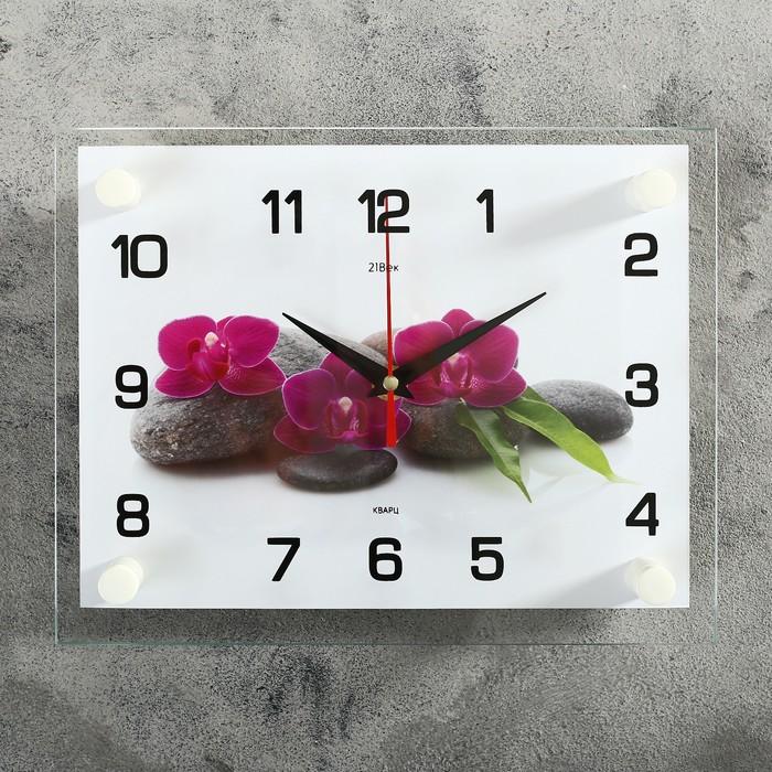 Часы настенные, серия Цветы, Цветки на камнях, 20х26 см микс