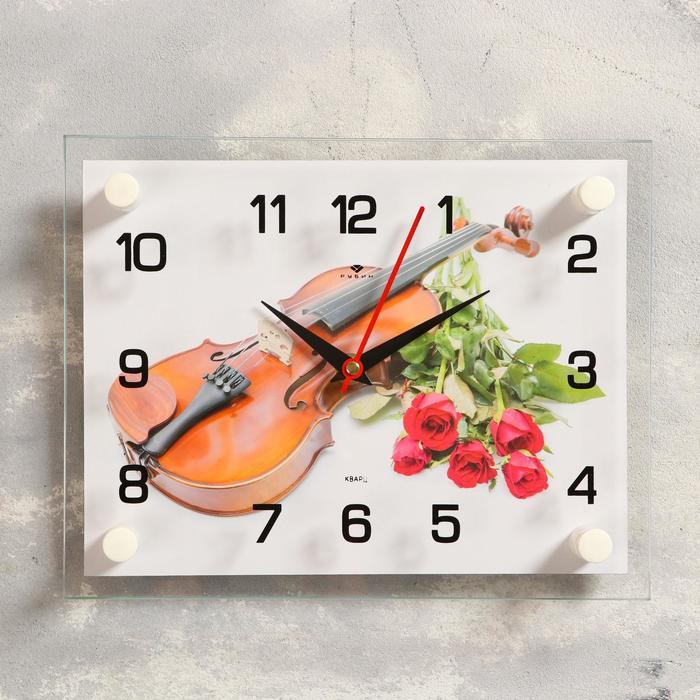 Часы настенные, серия Музыка, Розы и скрипка, 20х26 см, макс