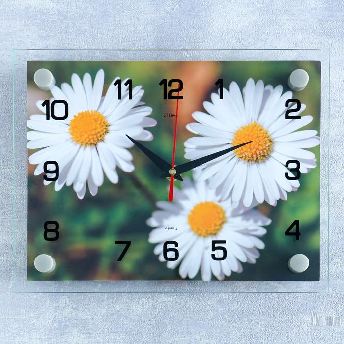 Часы настенные, серия Цветы, Ромашки, 20х26 см микс