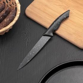 Нож кухонный Доляна «Космос», лезвие 12,5 см, с антиналипающим покрытием, с чехлом, цвет чёрный