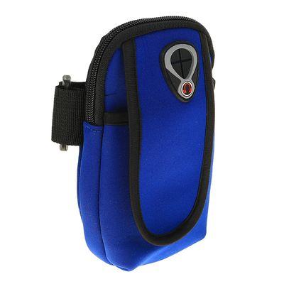 Чехол для сотового телефона на руку LuazON, выход для наушников, 2 отсека, синий