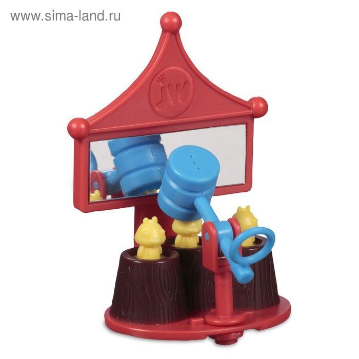 Игрушка для птиц J.W. - Зеркальце с вращающейся погремушкой-молотком, пластик, микс