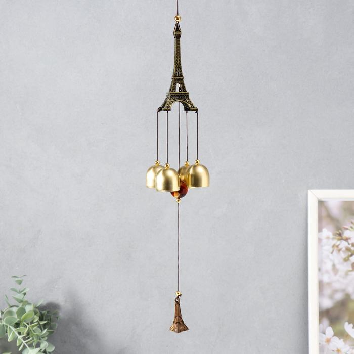 Музыка ветра металл Эйфелева башня 4 колокольчика 1 фигурка 40 см