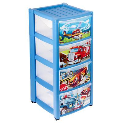 Комод детский на колесах с аппликацией, 4 ящика, цвет: голубой